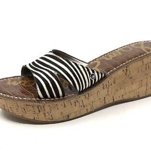 Sam Edelman zebra print healed sandals